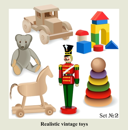 Beautiful set of isolated realistic vintage toys for kids, vector  Vector