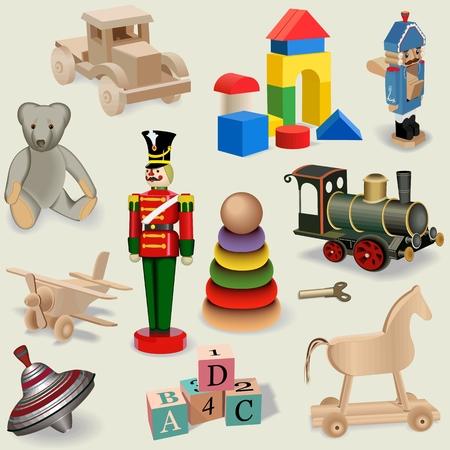 juguetes antiguos: Hermoso fondo transparente de juguetes realistas de la vendimia, vector Vectores