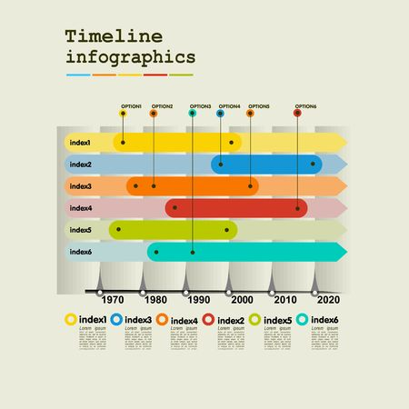 Timeline Infographic with diagrams and graphics in flat design style Illustration