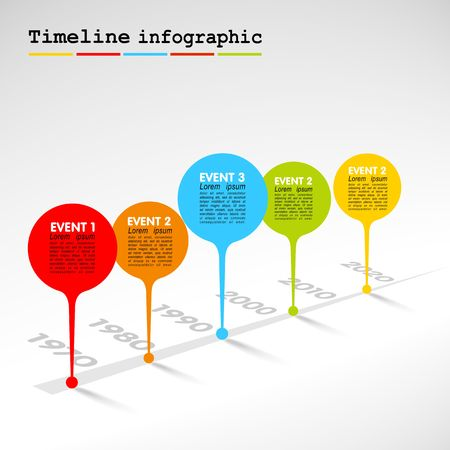 Infographic timeline report template with colorful bubbles Vector