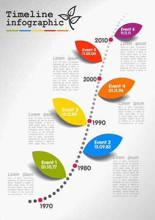 Vector timeline infographics, the conceptual branch - time  and colorful leaves -  events Vector
