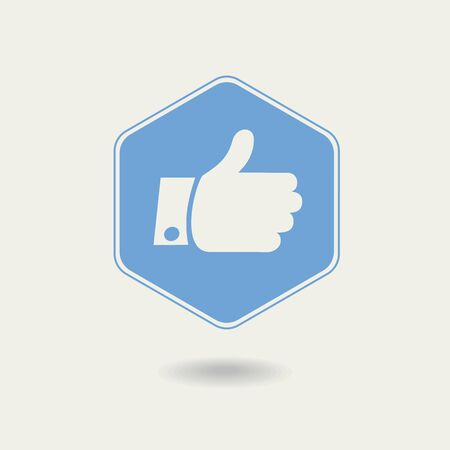 nonverbal: Vector Thumb up. Hexagonal Icon , flat design Illustration