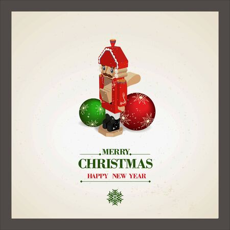 nutcracker: Christmas and a Happy New Year greeting card. Nutcracker and Christmas balls. Vector