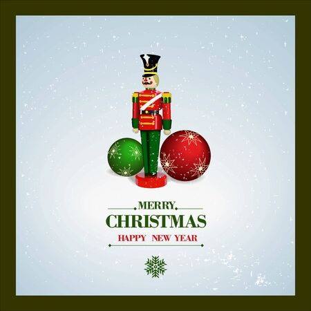 Christmas and a Happy New Year greeting card. Wooden Soldier  and Christmas balls. Vector Vector