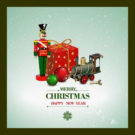 Christmas and a Happy New Year greeting card. Wooden soldier, iron train, gift box  and Christmas balls. Vector