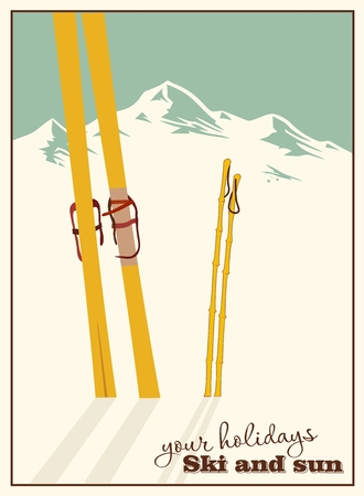 cross country skiing: Winter  background. Mountains and ski equipment in the snow