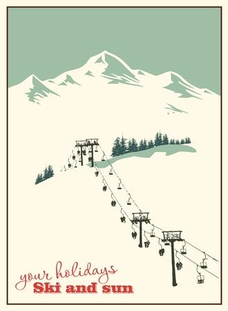 neve montagne: Inverno sfondo. Paesaggio di montagna con impianto di risalita