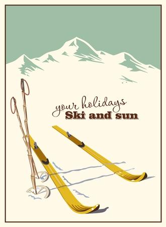 스키: 겨울 배경입니다. 눈 산 및 스키 장비
