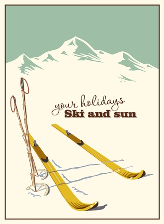 mountain holidays: Winter  background. Mountains and ski equipment in the snow