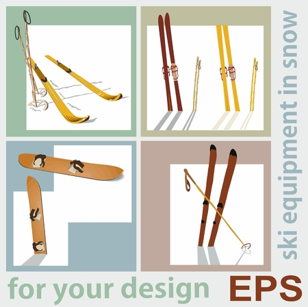 cross country skiing: Beautiful retro set for your design, ski old equipment Illustration