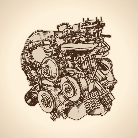Old internal combustion engine, drawing. Vector Vector