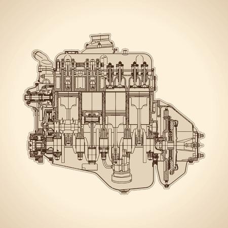 Eski içten yanmalı motor, çizim.