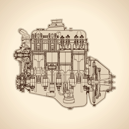 Old internal combustion engine, drawing.