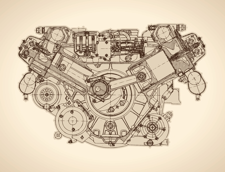 Old internal combustion engine, drawing.  Vector