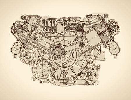 Oude verbrandingsmotor, tekenen.
