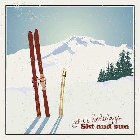 Winter background. Montagnes et du matériel de ski dans la neige