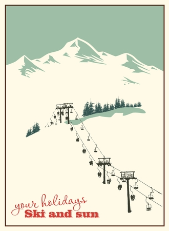 skis: Winter background. Mountain landscape with ski lift Illustration