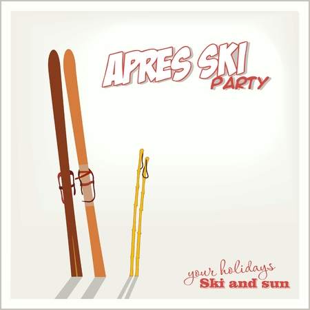 Banner ski party with a Mountains and ski equipment in the snow, Apres ski . Vector