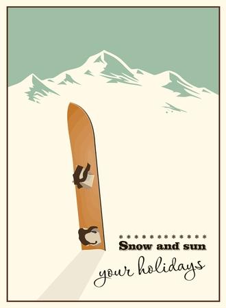 冬の背景。山と雪の中で古いスノーボード