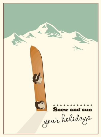 Winter  background. Mountains and old snowboard in the snow Vector