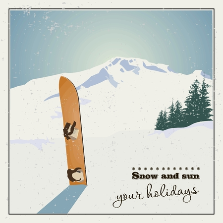 snowy mountains: Winter  background. Mountains and old snowboard in the snow Illustration