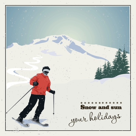 Mountain skiing. Skier slides from the mountain. Vector