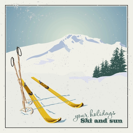 snowy mountains: Winter  background. Mountains and ski equipment in the snow