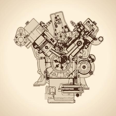 Eski içten yanmalı motor, çizim. Vektör Illustration