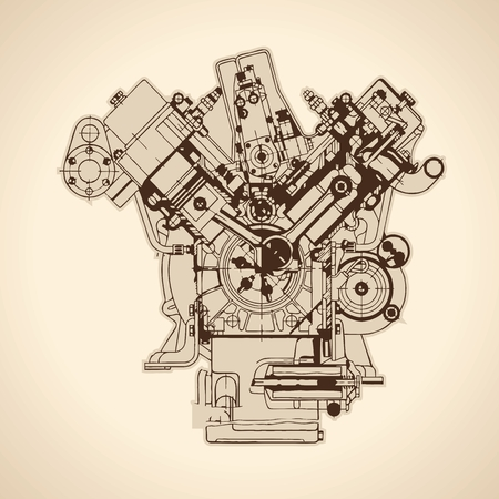 technical: Old internal combustion engine, drawing. Vector