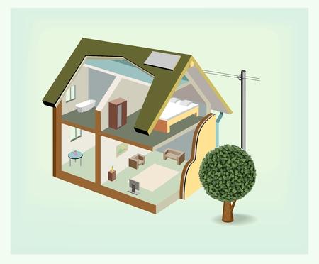 Isometrische huis cutaway icoon Stock Illustratie