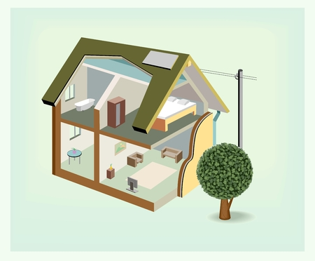 cutaway: Vector isometric house cutaway icon Illustration