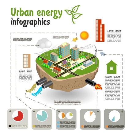 energy conservation: Urban energy, infographics template for your design. Vector