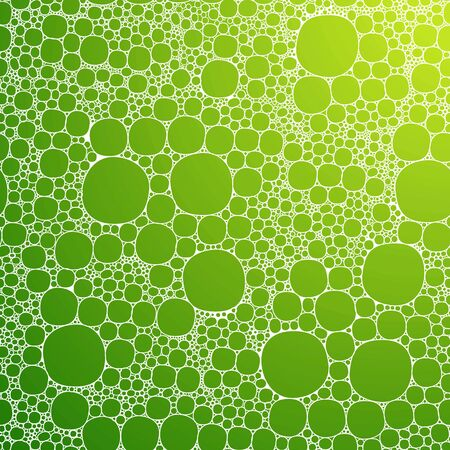 Seamless background foam bubbles, white on green Vector