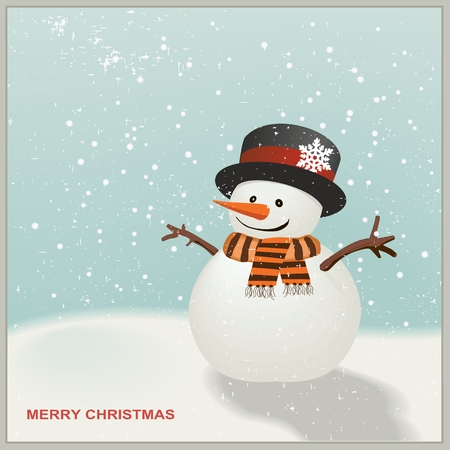 frosty the snowman: Christmas Snowman with hat and striped scarf