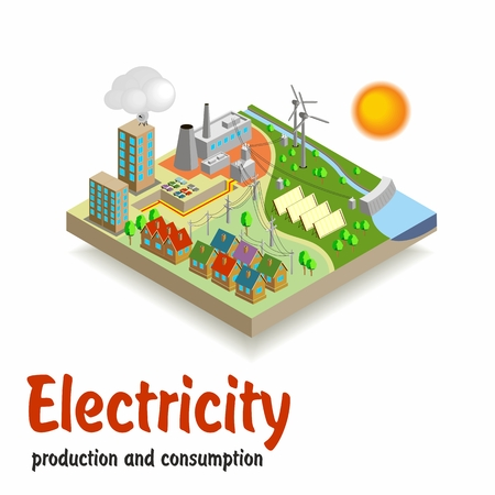 Isometric landscape. Production and consumption of electricity. Vector