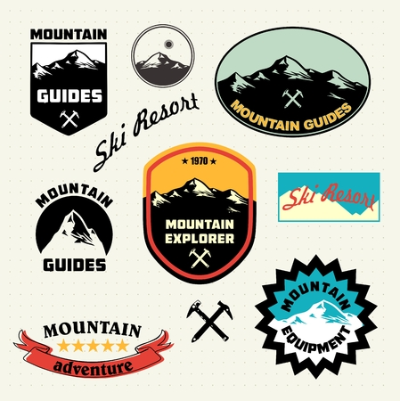 human icons: Mountain labels set. Mountain climbing. Ski Resort logo and icon collection. Illustration
