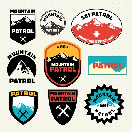 Ensemble de la patrouille de ski de montagne et badges logo correctifs Illustration