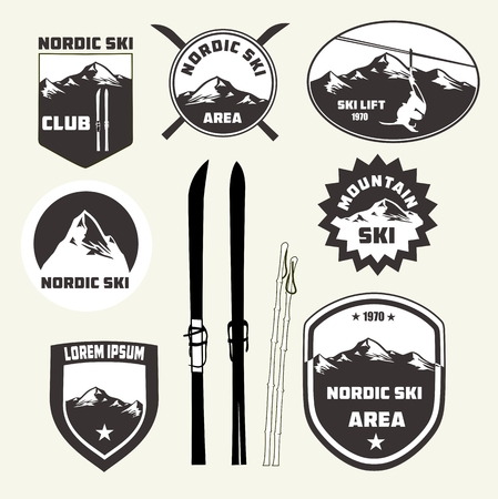 snow mountains: Set of nordic skiing design elements , badges and logo patches