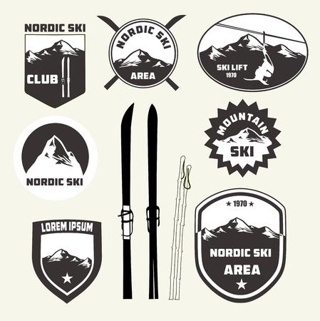 Set van langlaufen design elementen, badges en logo van patches