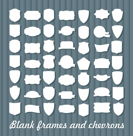 blanks: Mega Set of vintage frames for emblems, labels, insignia. Blanks chevrons and coats of arms Illustration