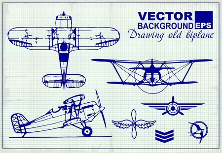 warlike: Vintage airplanes drawing on graph paper and design elements , badges and logo patches on the theme aviation