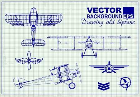 air war: Vintage airplanes drawing on graph paper and design elements , badges and logo patches on the theme aviation