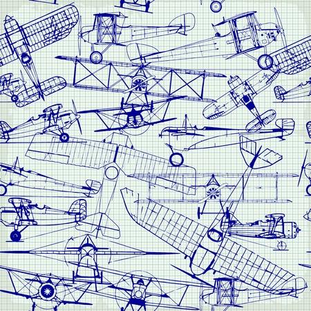 レトロなシームレス パターンでは、古い飛行機の図面  イラスト・ベクター素材