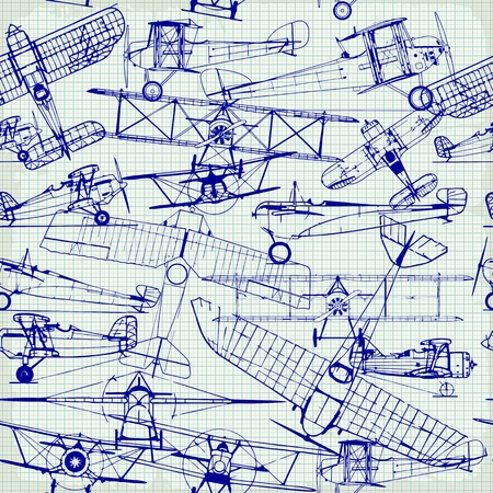 Retro seamless  pattern , old airplanes drawing