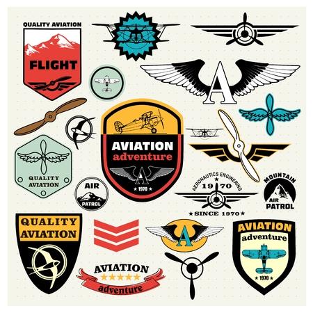 レトロなエンブレムのメガ セット デザイン要素、バッジとロゴ パッチ テーマ航空