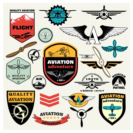 Mega Set of retro emblems, design elements , badges and logo patches on the theme aviation Illustration