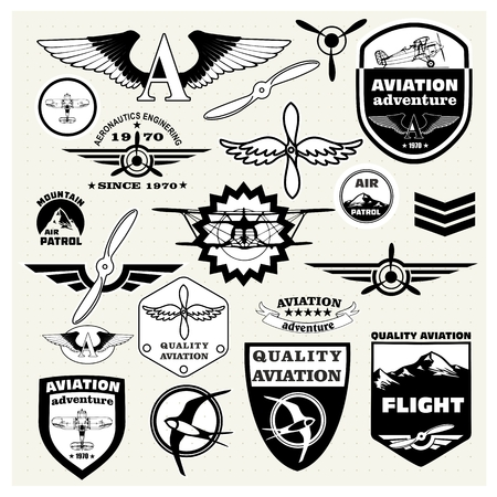 Monochrome Mega Set of retro emblems, design elements , badges and logo patches on the theme aviation Vettoriali