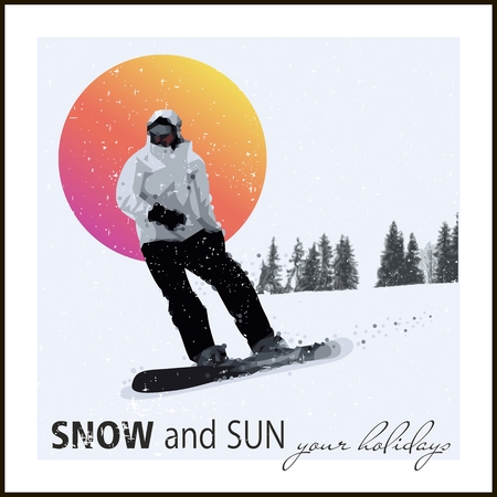 Mountain skiing. Extreme Snowboard against the evening sun. Vector Vector