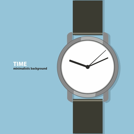wristwatch: Time. Minimalistic background with a wristwatch, flat design. Can be used as an interface for web pages, posters, flyers.