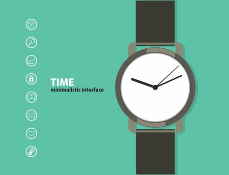 wrist watch: Time. Minimalistic Web and mobile interface template. with a wristwatch and a set of icons. flat design. Illustration